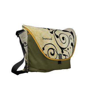 Personalized Distressed Grunge Black Swirl Pattern Messenger Bags
