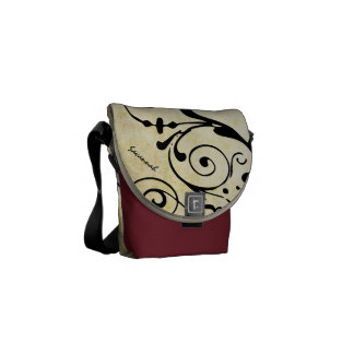 Personalized Distressed Grunge Black Swirl Pattern Messenger Bag