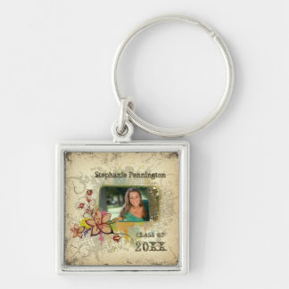 Personalized distressed photo graduation keychain