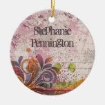 Personalized distressed swirls graduation ornament
