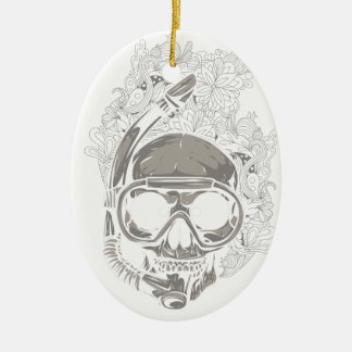 Personalized Dive Utila Honduras Skull Scuba Diver Ceramic Ornament