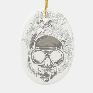Personalized Dive Utila Honduras Skull Scuba Diver Ceramic Ornament