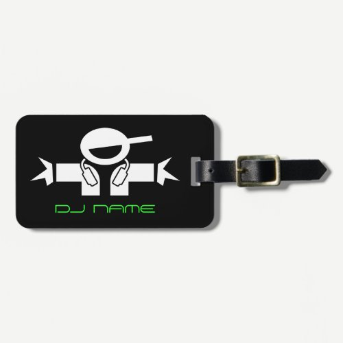 Personalized DJ name luggage tag for music deejay