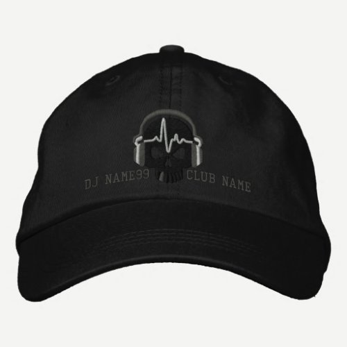 Personalized DJ Skull Your Name Club Embroidery Embroidered Baseball Cap