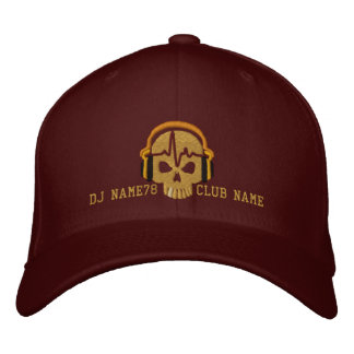 Personalized DJ Skull Your Name Club Embroidery Embroidered Baseball Hat
