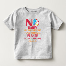 Personalized Do Not Feed Dairy Allergy Alert Toddler T-shirt