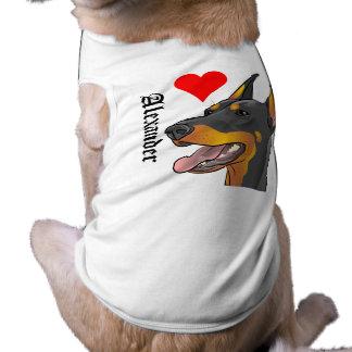 "Personalized Doberman Dog Shirt ""I love my dog!"""