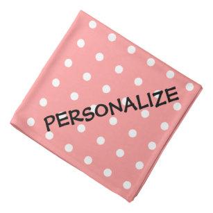 Personalized Dog Bandana Coral Pink Polka Dots