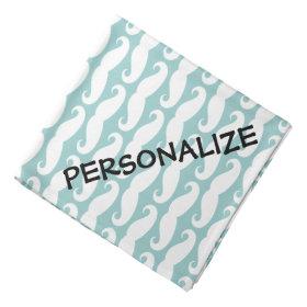 Personalized dog bandana | Teal mustache print Bandanna
