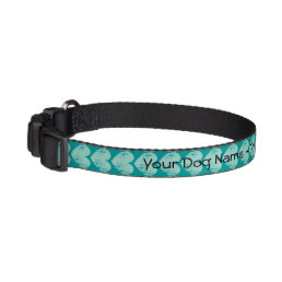 Personalized dog collar with turquoise heart print