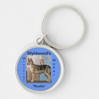 Personalized Dog Crate Tags Silver-Colored Round Keychain