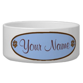 Personalized Dog Dish Blue Oval Paw Print Design Dog Bowls