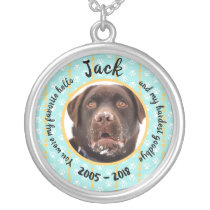 Personalized Dog Memorial Silver Plated Necklace