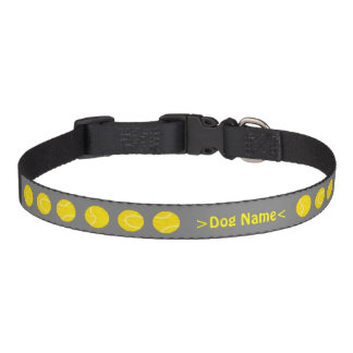 Personalized dog name collar, grey / tennis balls pet collar