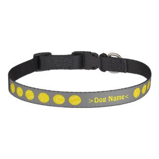 Personalized dog name collar, grey / tennis balls pet collar