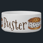 "Personalized Dog Name Ice Cream Cookie Sandwich Bowl<br><div class=""desc"">Features an original marker illustration of a delicious &quot;chipwich&quot; ice cream sandwich--two chocolate chip cookies stuffed with creamy vanilla ice cream and rolled in chocolate chips. Perfect for a summertime treat! Simply personalize with the name of your pet.</div>"