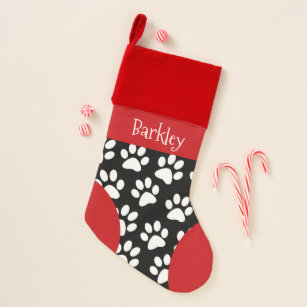 personalized dog paw print christmas christmas stocking