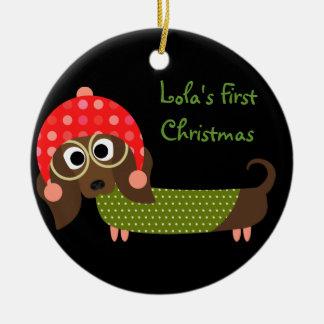 Personalized Dog Pet Dachshund Christmas Ornament