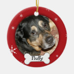 Personalized Dog/Pet Photo Holiday Ceramic Ornament