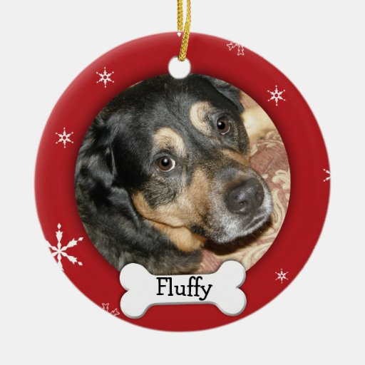Personalized Dog/Pet Photo Holiday Double-Sided Ceramic Round Christmas Ornament