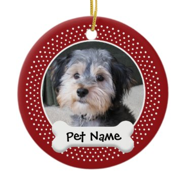 Christmas Themed Personalized Dog Photo Frame - SINGLE-SIDED Ceramic Ornament