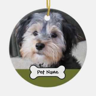 Personalized Dog Photo Frame - SINGLE-SIDED Double-Sided Ceramic Round Christmas Ornament