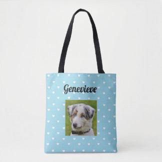 Personalized Dog Photo Paw Print BlueTote Bag