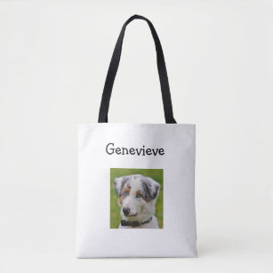 Personalized Dog Photo Paw Print Tote Bag