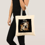"Personalized Dog Photo Tote Bag<br><div class=""desc"">Cute tote bag with your dog&#39;s picture. Add it in the customize area. Or you can use this bag to store all your dogs toys and treats!</div>"