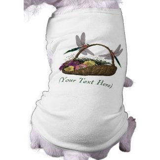 Personalized Dog T Shirt Dragonflies Flower Basket