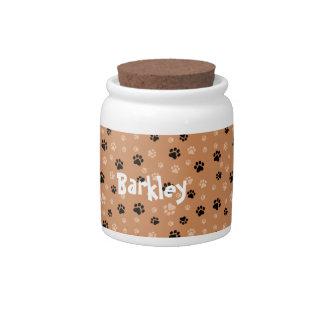 Personalized Dog Treat Jar Paw Prints Candy Jars