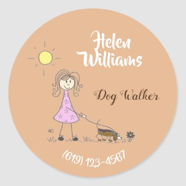Professional Business Personalized dog walker business stickers