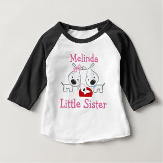Personalized Dogs Little Sister Baby T-Shirt