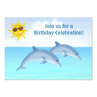 Personalized Dolphin Birthday Party Invitation