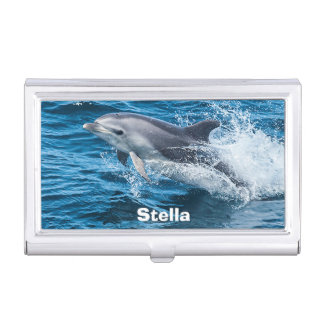 Personalized Dolphin Splashing Business Card Holder