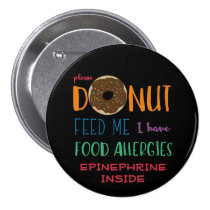 Personalized Donut Feed Me Kids Food Allergies Button