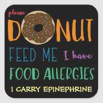 Personalized Donut Feed Me Kids Food Allergies Square Sticker