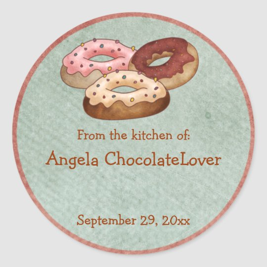 Personalized Donut Recipe Stickers