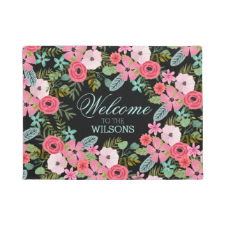 Personalized door mat Welcome Floral