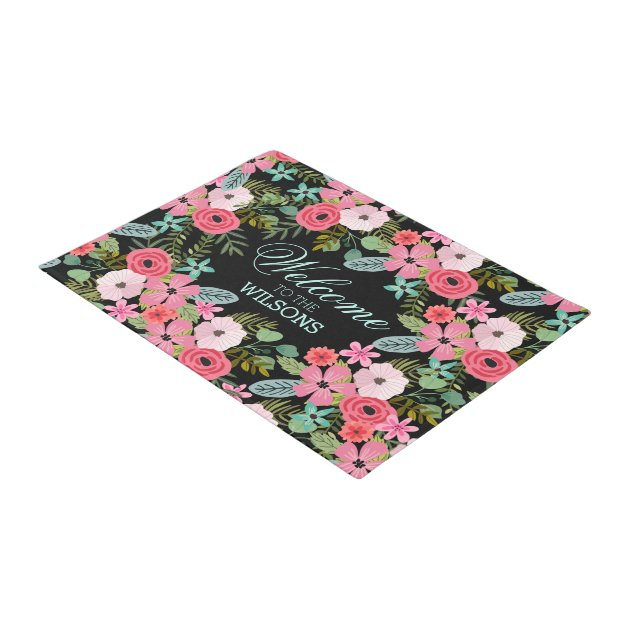 Personalized Door Mat Welcome Floral Zazzle