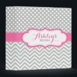 """Personalized Dots Chevron Pink Recipe Binder<br><div class=""""desc"""">A cute and trendy kitchen recipe binder with a pretty light gray,  pink,  mint green and white polka dots and chevron pattern. Personalize this elegant binder with the name and text of your choice.</div>"""