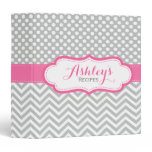 Personalized Dots Chevron Pink Recipe Binder