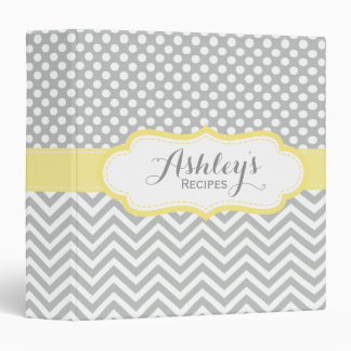Personalized Dots Chevron Yellow Recipe Binder