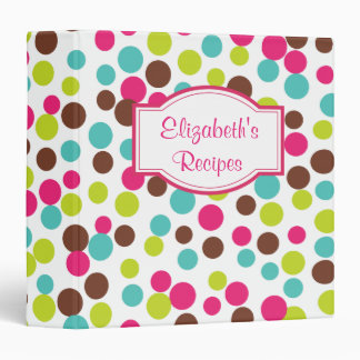Personalized Dots Recipe Organizer Binder Gift