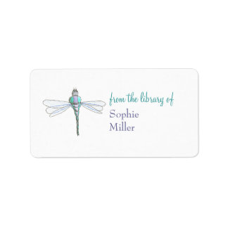 Personalized dragonfly bookplate sticker address label