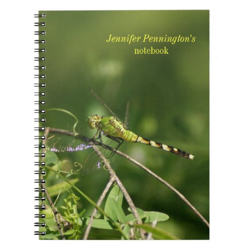 Personalized dragonfly close up photo notebook