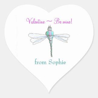 Personalized dragonfly valentine sticker
