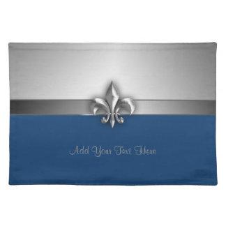 Personalized Dramatic Blue Silver Fleur de Lis Cloth Placemat