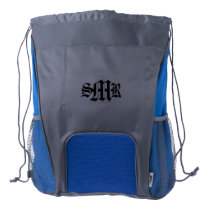 Personalized Drawstring Backpack (Blue)