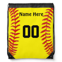 Personalized Drawstring Softball Backpacks